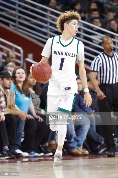 Lamelo Ball of Chino Hills High School controls the ball down court during the game against Mater Dei High School at the Galen Center on February 24...