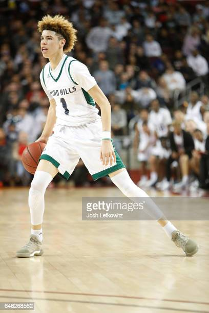 LaMelo Ball of Chino Hills High School dribbles the ball down the court during the game against Mater Dei High School at the Galen Center on February...