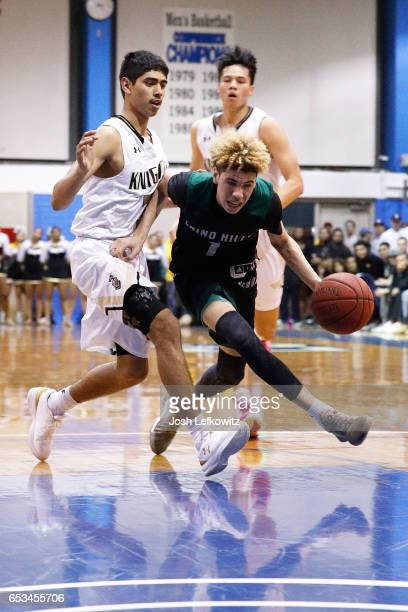 LaMelo Ball of Chino Hills High School drives the ball to the basket during the game against Bishop Montgomery High School at El Camino College on...
