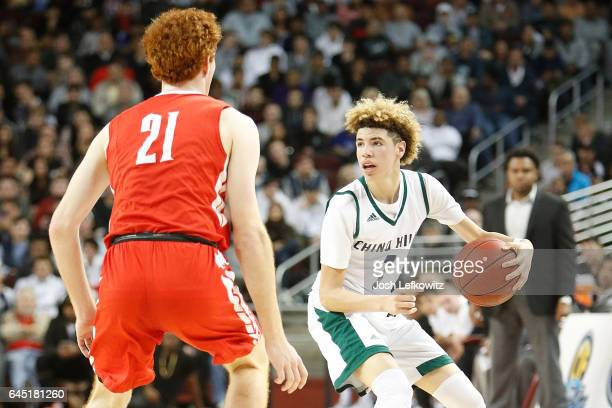 Lamelo Ball of Chino Hills High School looks for the open pass during the game against Mater Dei High School at the Galen Center on February 24 2017...