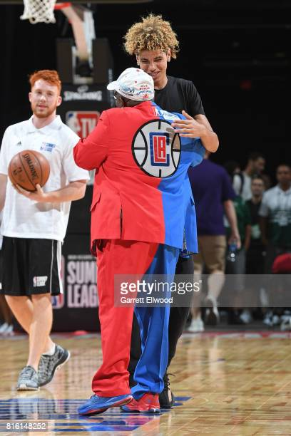 LaMelo Ball stands on court when the Los Angeles Lakers played the Los Angeles Clippers on July 7 2017 at the Thomas Mack Center in Las Vegas Nevada...