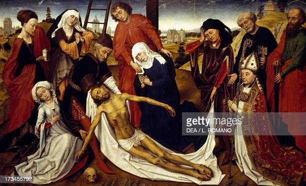 Lamentation over the dead Christ 14601464 by Roger Van Der Weyden oil on panel 806 x 1301 cm The Hague Mauritshuis