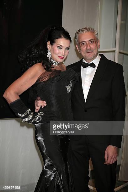 Lamia Khashoggi and Antonio Grimaldi attend the Children for Peace Benifit Gala at Spazio Novecento on November 28 2014 in Rome Italy