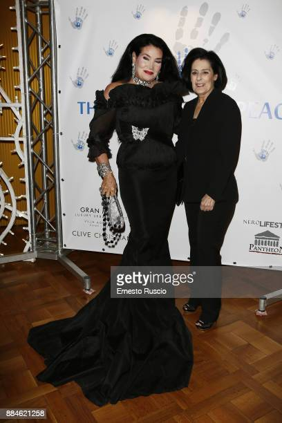 Lamia Khashoggi and Debra Mace arrive for the Children for Peace Gala Dinner at Cardinal Gallery on December 2 2017 in Rome Italy