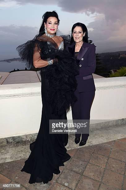 Lamia Khashoggi and Debra Mace attend the 60th Taormina Film Fest on June 17 2014 in Taormina Italy