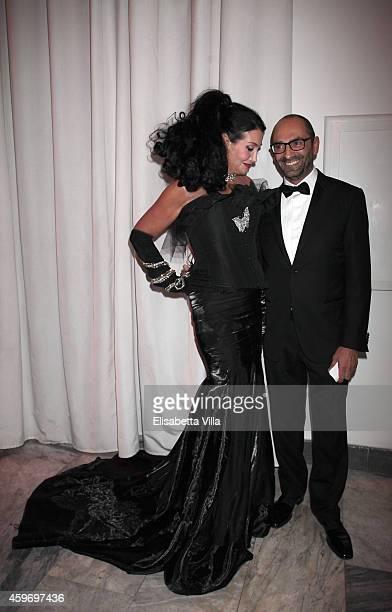 Lamia Khashoggi and Massimo Leonardelli attend the Children for Peace Benifit Gala at Spazio Novecento on November 28 2014 in Rome Italy