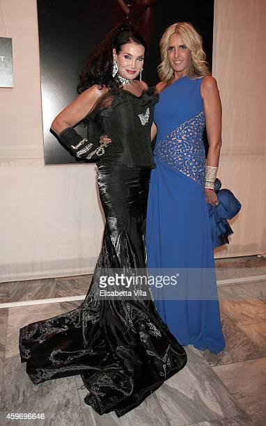 Lamia Khashoggi and Tiziana Rocca attends the Children for Peace Benifit Gala at Spazio Novecento on November 28 2014 in Rome Italy