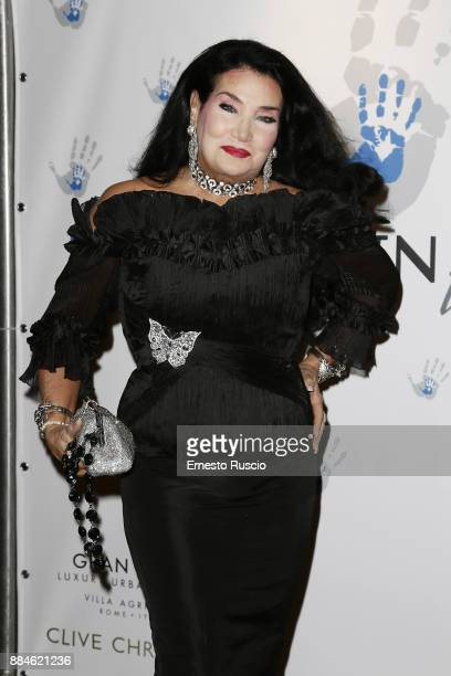 Lamia Khashoggi arrives for the Children for Peace Gala Dinner at Cardinal Gallery on December 2 2017 in Rome Italy