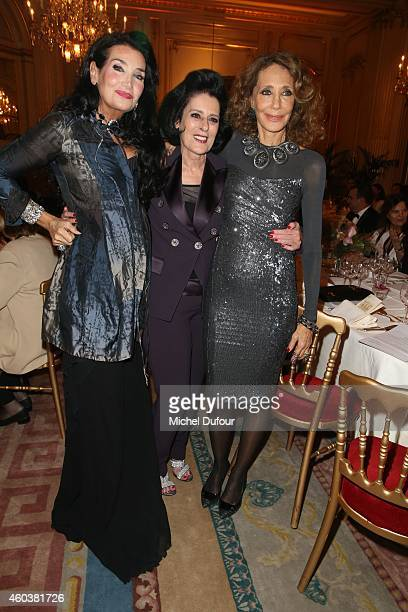Lamia Khashoggi Debra Macé and Marisa Berenson attend the Children For Peace Gala at Cercle Interallie on December 12 2014 in Paris France