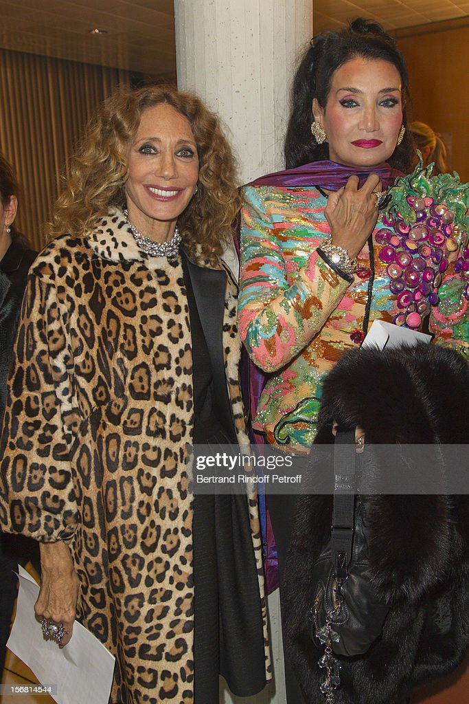 Lamia Khashoggi, the wife of Adnan Khashoggi (R) and Marisa Berenson attend world-famous tenor and conductor Placido Domingo's induction ceremony as Goodwill Ambassador of UNESCO at UNESCO on November 21, 2012 in Paris, France.