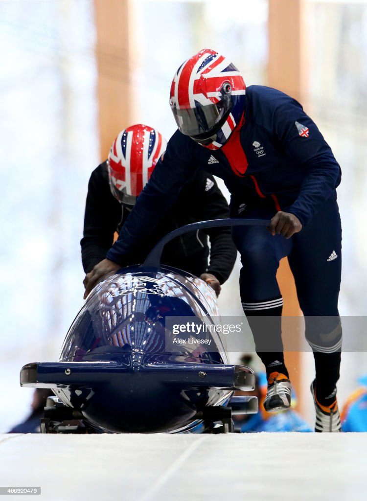 Lamin Deen and Craig Pickering of Great Britain practise a bobsleigh run ahead of the Sochi 2014 Winter Olympics at the Sanki Sliding Center on February 5, 2014 in Sochi, Russia.
