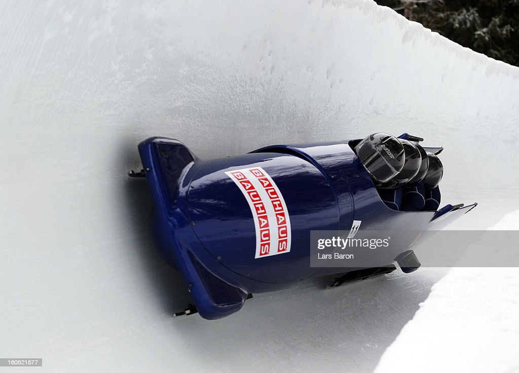 Lamin Deen, David Coleman, Ben Simons and Andrew Matthews of Great Britain compete during the Four Men Bobsleigh heat one of the IBSF Bob & Skeleton World Championship at Olympia Bob Run on February 2, 2013 in St Moritz, Switzerland.