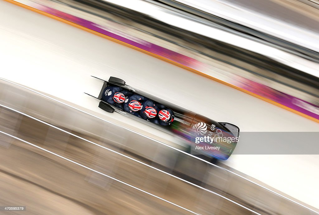 Lamin Deen of Great Britain pilots a run during a four-man bobsleigh practice session on Day 13 of the Sochi 2014 Winter Olympics at Sliding Center Sanki on February 20, 2014 in Sochi, Russia.