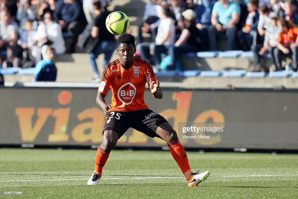 Lamine Gassama of Lorient during the French Ligue 1 match between Fc Lorient and Lille OSC at Stade du Moustoir on April 30 2016 in Lorient France