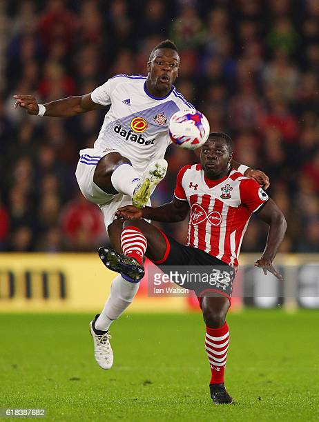 Lamine Koné of Sunderland and Olufela Olomola of Southampton battle for possession during the EFL Cup fourth round match between Southampton and...