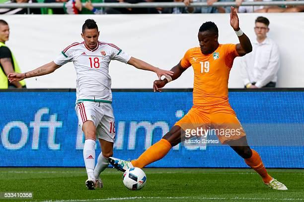 Lamine Kone of Ivory Coast tackles Adam Gyurcso of Hungary during the International Friendly match between Hungary and Ivory Coast at Groupama Arena...