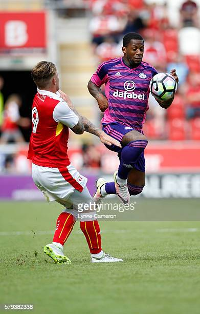 Lamine Kone of Sunderland and Danny Ward of Rotherham United during the PreSeason Friendly match between Rotherham United and Sunderland at the...