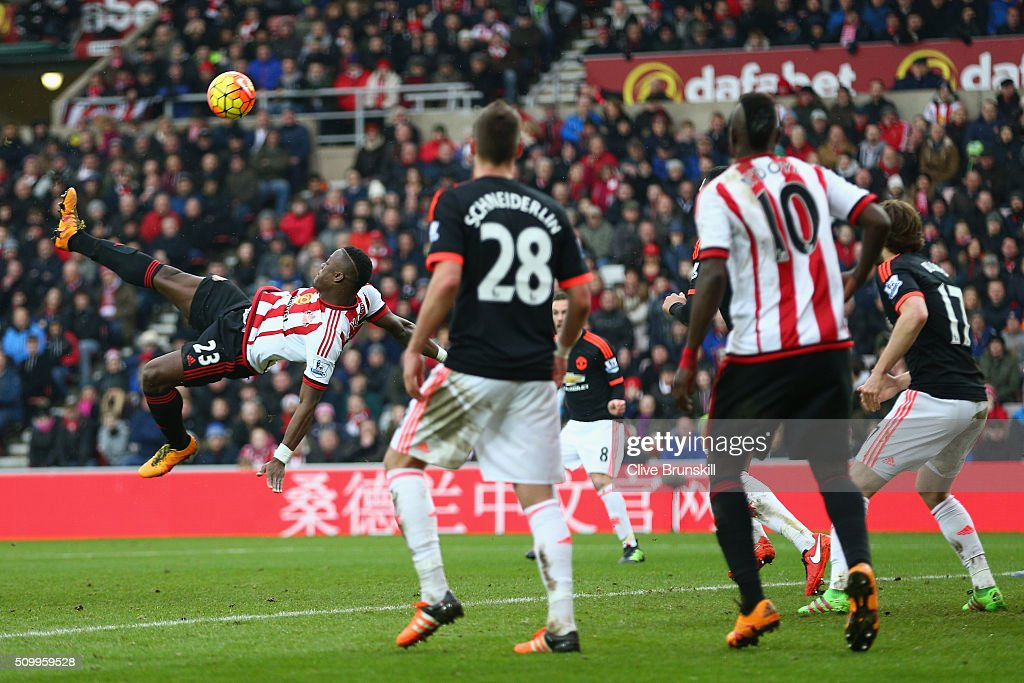 Lamine Kone of Sunderland attempts a bicycle kick during the Barclays Premier League match between Sunderland and Manchester United at the Stadium of Light on February 13, 2016 in Sunderland, England.