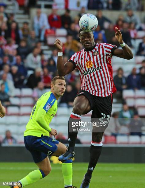 Lamine Kone of Sunderland clears the ball during the Sky Bet Championship match between Sunderland and Derby County at Stadium of Light on August 4...