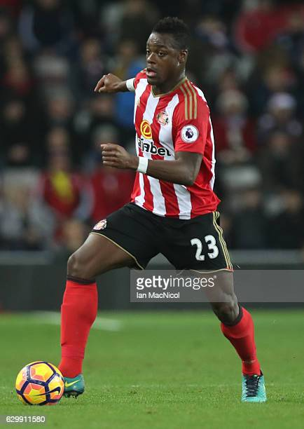 Lamine Kone of Sunderland controls the ball during the Premier League match between Sunderland and Chelsea at Stadium of Light on December 14 2016 in...