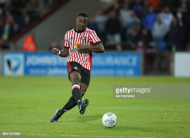 Lamine Kone of Sunderland during a preseason friendly match between Scunthorpe United and Sunderland AFC at Glanford Park on July 26 2017 in...