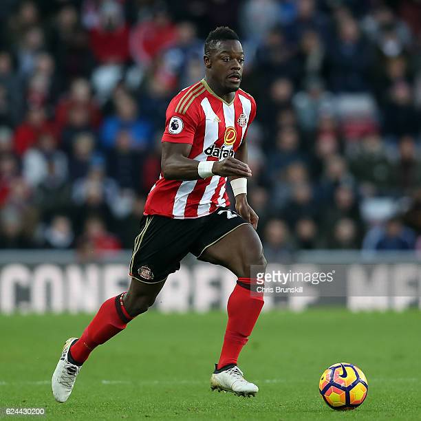 Lamine Kone of Sunderland in action during the Barclays Premier League match between Sunderland and Hull City at the Stadium of Light on November 19...
