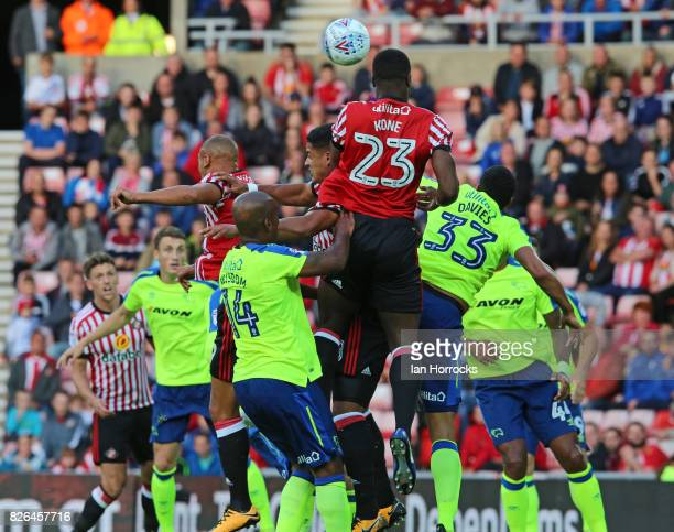 Lamine Kone of Sunderland rises to head the ball during the Sky Bet Championship match between Sunderland and Derby County at Stadium of Light on...