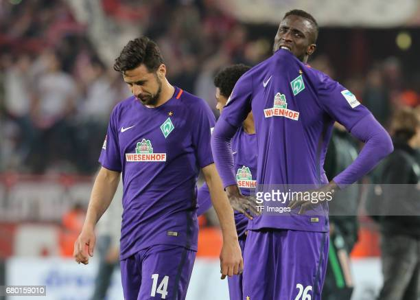 Lamine Sane of Bremen and Claudio Pizarro looks on during to the Bundesliga match between 1 FC Koeln and Werder Bremen at RheinEnergieStadion on May...