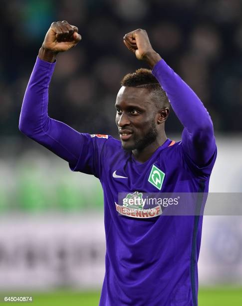 Lamine Sane of Bremen celebrates at the end of the Bundesliga match between VfL Wolfsburg and Werder Bremen at Volkswagen Arena on February 24 2017...