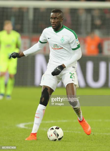 Lamine Sane of Bremen controls the ball during the Bundesliga soccer match between Bayer Leverkusen and Werder Bremen at the BayArena stadium in...