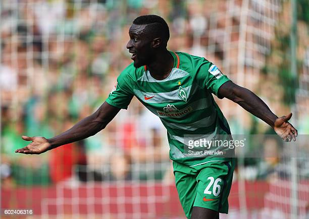 Lamine Sane of Bremen reacts during the Bundesliga match between Werder Bremen and FC Augsburg at Weserstadion on September 11 2016 in Bremen Germany