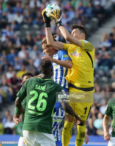 Lamine Sane of Werder Bremen Valentin Stocker of Hertha BSC and Jiri Pavlenka of Werder Bremen during the game between Hertha BSC and Werder Bremen...