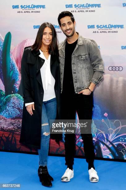Lamiya Slimani and Sami Slimani attend 'Die Schluempfe Das verlorene Dorf' Berlin Premiere at Sony Centre on April 2 2017 in Berlin Germany