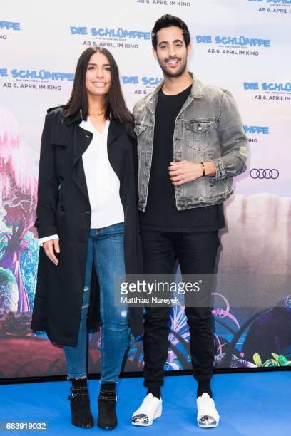 Lamiya Slimani and Sami Slimani attend the 'Die Schluempfe Das verlorene Dorf' Berlin Premiere at Sony Centre on April 2 2017 in Berlin Germany