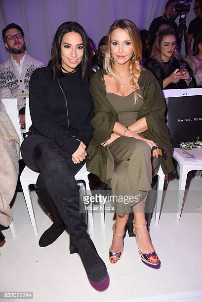 Lamiya Slimani and Sophie Hermann attend the Marcel Ostertag show during the MercedesBenz Fashion Week Berlin A/W 2017 at Delight Rental Studios on...
