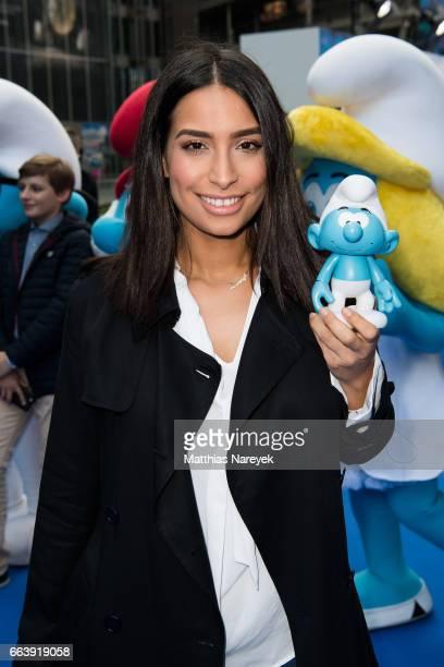 Lamiya Slimani attends the 'Die Schluempfe Das verlorene Dorf' Berlin Premiere at Sony Centre on April 2 2017 in Berlin Germany