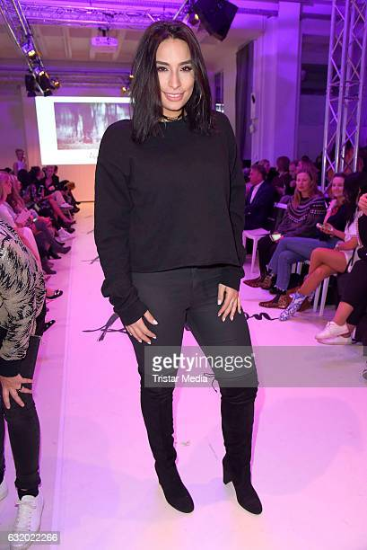 Lamiya Slimani attends the Marcel Ostertag show during the MercedesBenz Fashion Week Berlin A/W 2017 at Delight Rental Studios on January 18 2017 in...