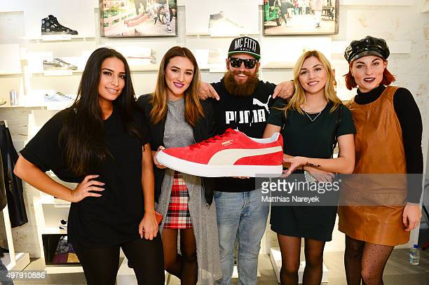 Lamiya Slimani Katharina Damm Mc Fitti Anna Maria Damm and Lisa Banholzer attend the opening of the new PUMA flagship store with the new 'Forever...
