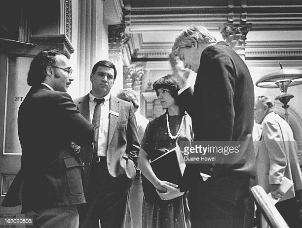 JUN 13 1985 Lamm Came to Senate to lobby against overide of veto of unitary tax bill he tried but failed to change Riqquto's mind L to R Sen James...