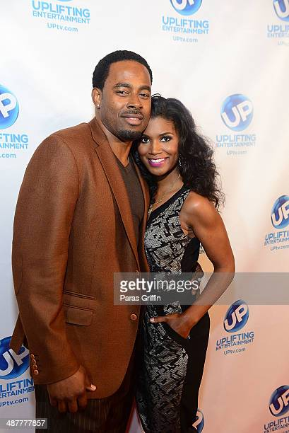 Lamman Rucker and Denise Boutte attend the 'Where's The Love' Atlanta Sneak Preview Party at Aurum Lounge on May 1 2014 in Atlanta Georgia