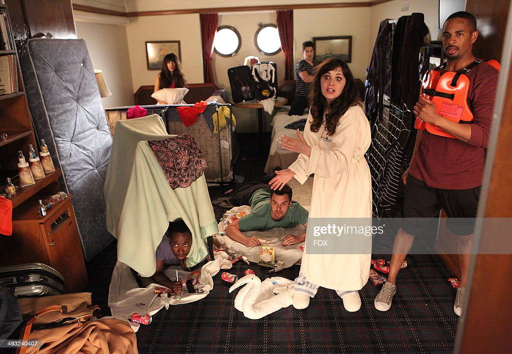 Lamorne Morris, Hannah Simone, Jake Johnson, Max Greenfield, Zooey Deschanel and Damon Wayans Jr. in the 'Cruise' Season Finale episode of NEW GIRL airing Tuesday, May 6, 2014 (9:00-9:30 PM ET/PT) on FOX.
