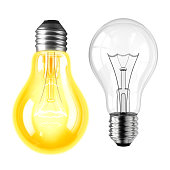 Lamp bulb On and Off isolated on white background. 3D illustration