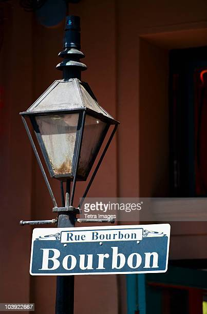 Lamp post and Bourbon Street sign in New Orleans