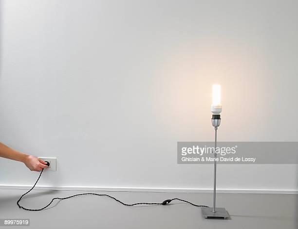 Lamp with energy saver light bulb