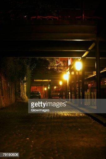 Lampposts lit up at night, Savannah, Georgia, USA : Foto de stock