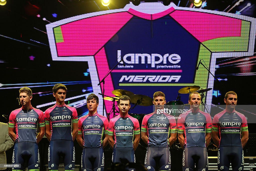 - Lampre - Merida attends the opening ceremony of the 50th Presidential Cycling Tour at Alanya in the Mediterranean resorty city April 26, 2014 in Antalya, Turkey. The Tour which will be held between April 27 and May 4 in Turkey.
