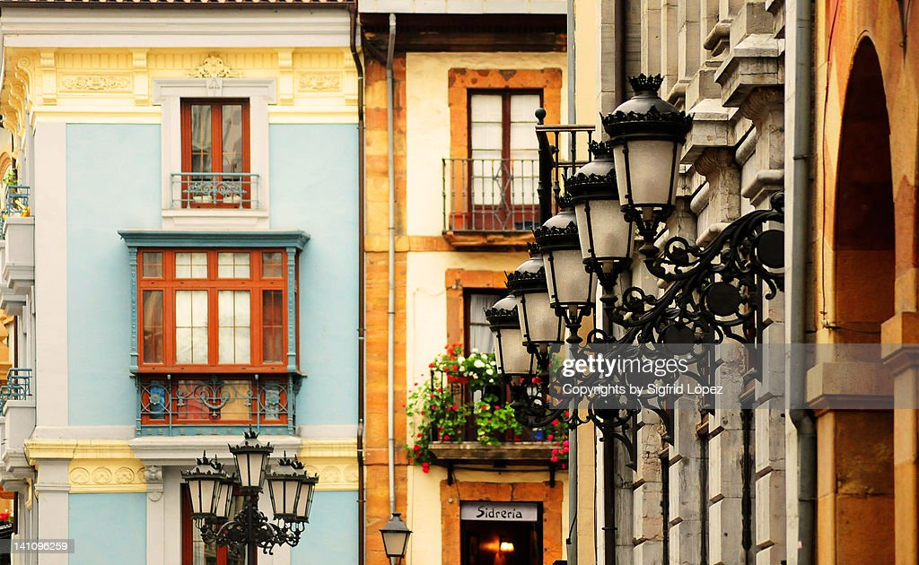 Lamps in Oviedo's downtown