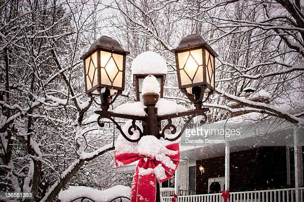 Lamps in snow
