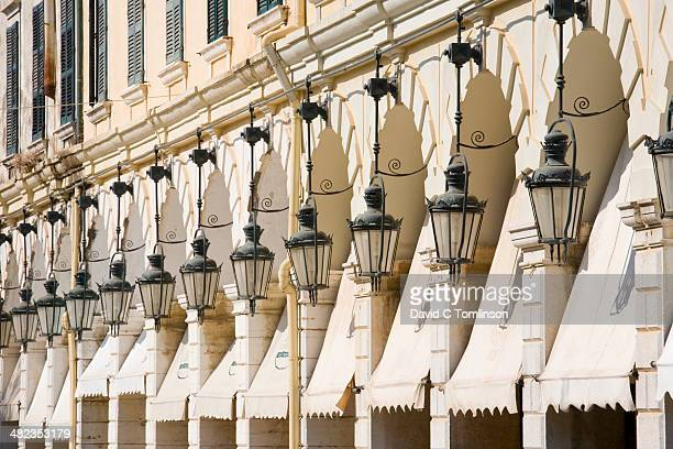 Lamps lining the Liston, Corfu Town, Corfu, Greece
