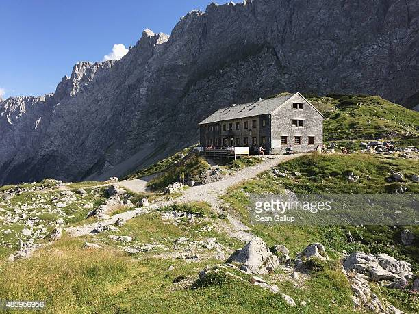 Lamsenjochhuette hut a refuge for hikers and mountain climbers stands in the Karwendel mountain range on August 9 2015 near Eng Alm Austria The...